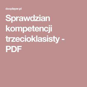 Sprawdzian kompetencji trzecioklasisty - PDF