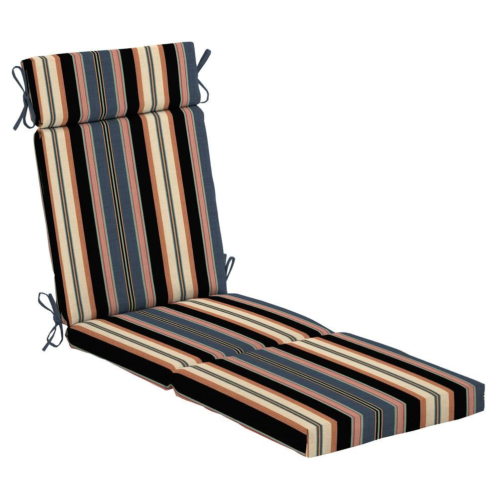 Hampton Bay 21 5 In X 29 In Black Stripe Outdoor Chaise Lounge