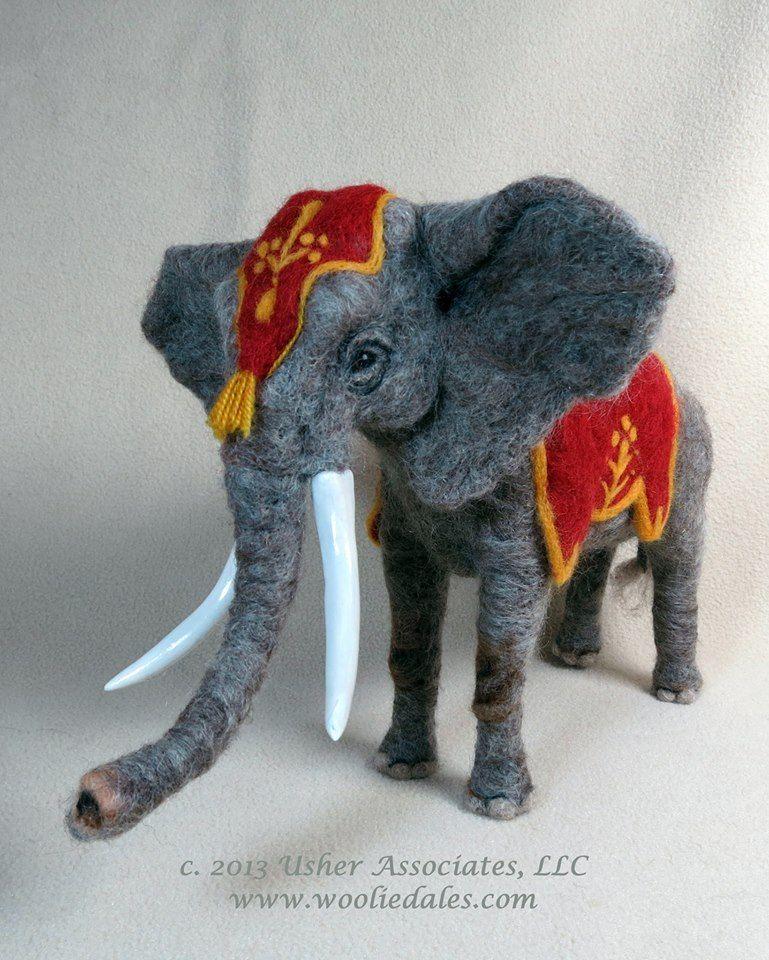 Needle Felted Elephant by Carol Usher.