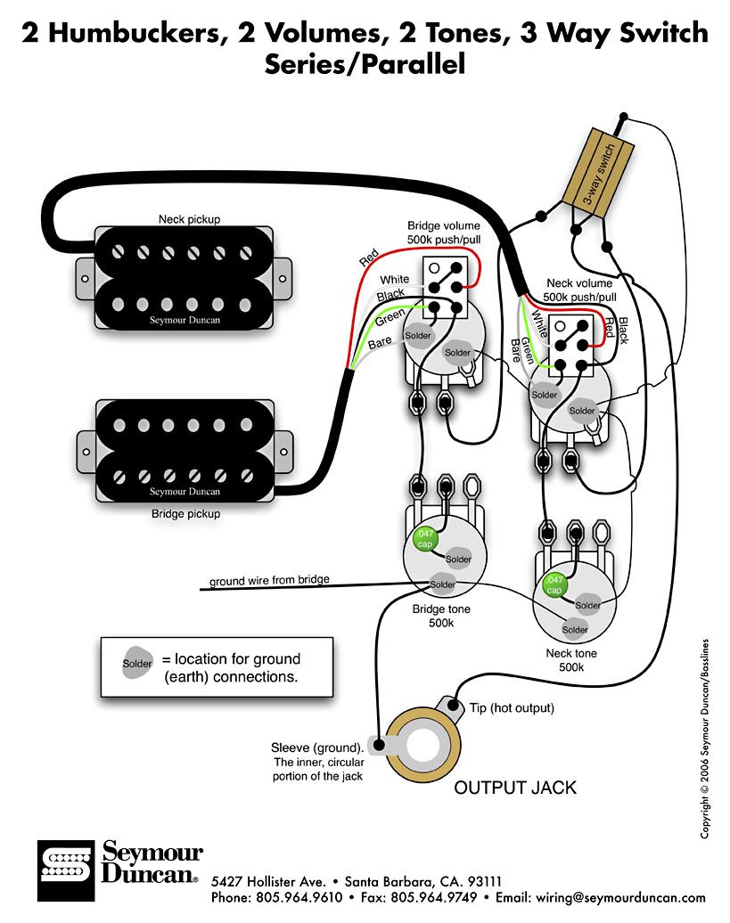 2 HB, 2 Vol, 2 Tone, 3way SW & SeriesParallel | Guitar