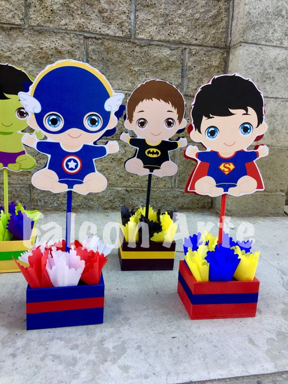Baby Shower Decorations Superhero ~ Baby super hero centerpiece for shower or by