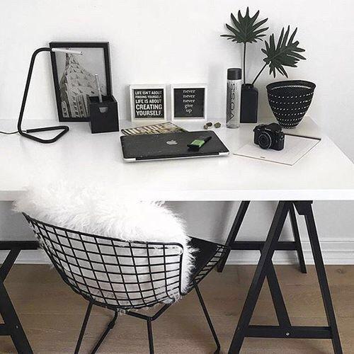 white desk w/ black hairpin legs black wire chair w/ white pillow or throw add black table or book shelf/wall shelves