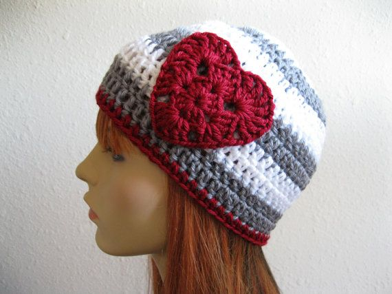 Crocheted Beanie Hat Gray White Stripes Ruby Red Heart - Ready to Ship