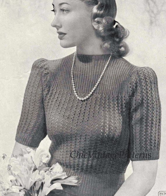 Ladies Knitted Sweater Vintage 1940s Pattern Lacy Jumper
