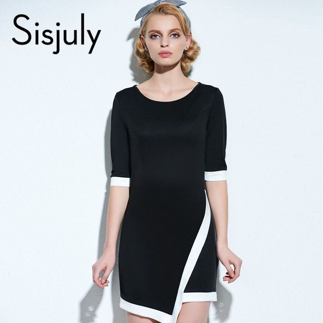 Sisjuly Women Bodycon Dress Sexy Dress Black White Women Short Sleeve Mini Dresses Bobycon Dress
