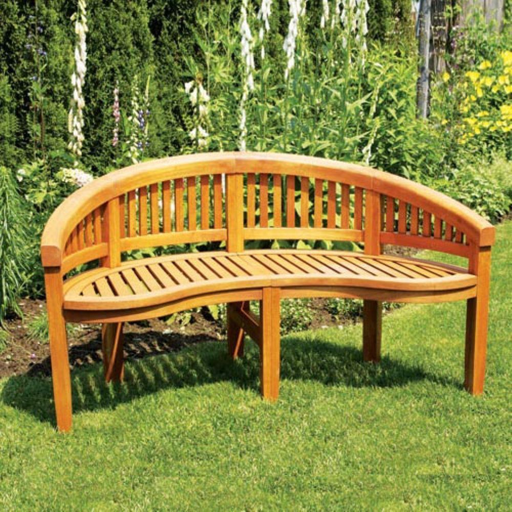 Achla Designs Monet Outdoor Curved Bench Natural Wood 400 x 300