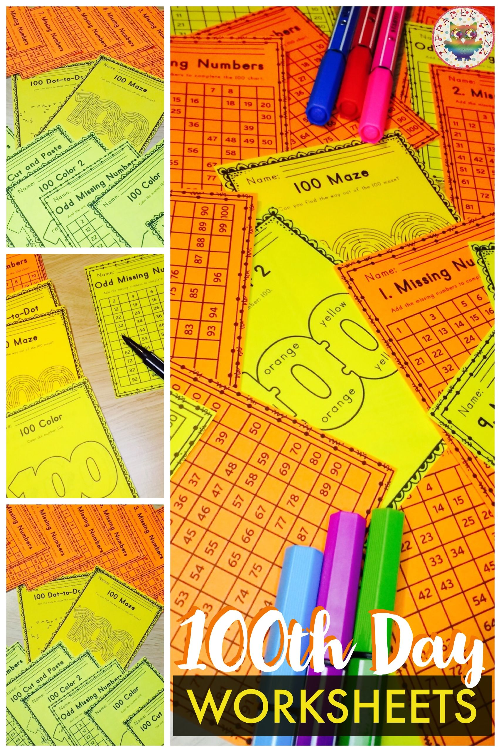 These 100th Day Fun Fine Motor Printable Worksheets Are
