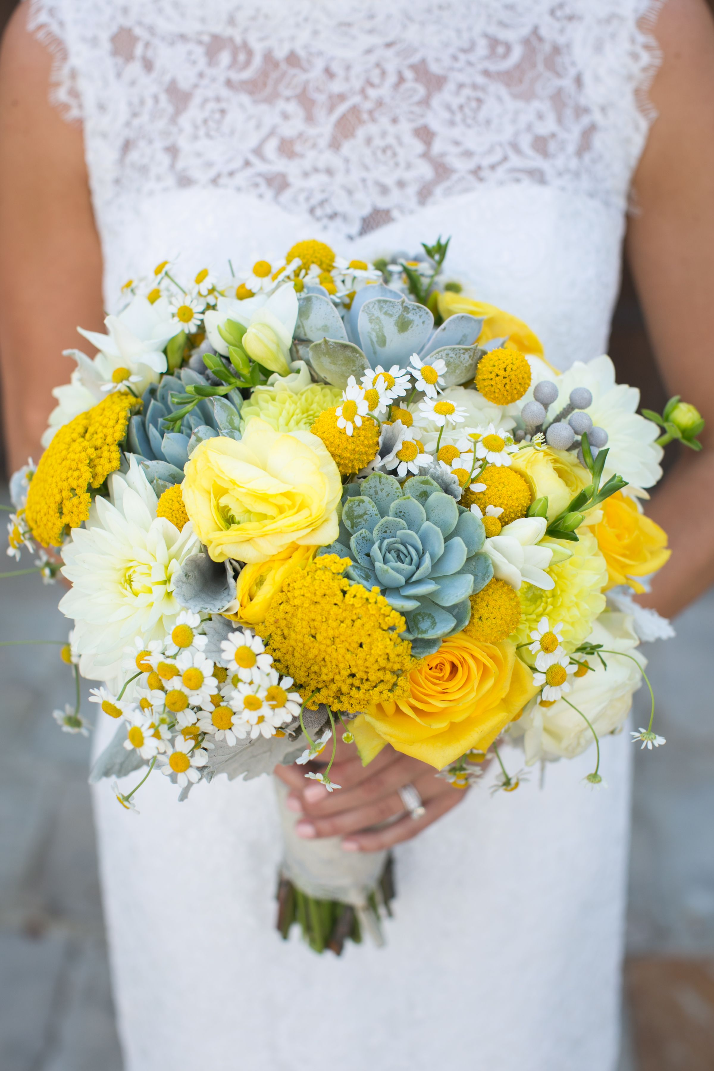 White And Yellow Flowers Bouquet Yellow succulen...