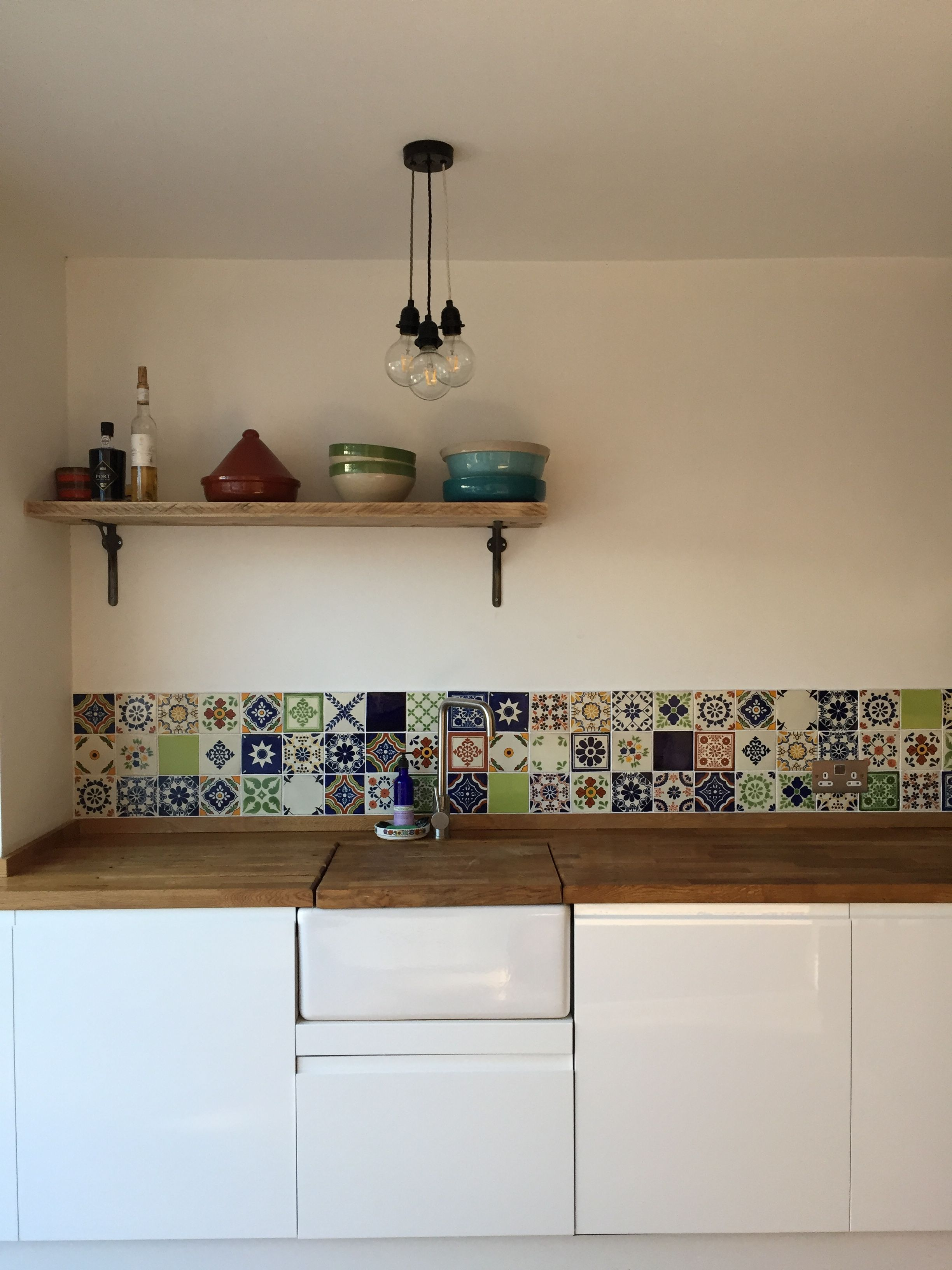My fab new kitchen complete with Moroccan tiles, butlers sink and lovely crockery. Lucky lady.,