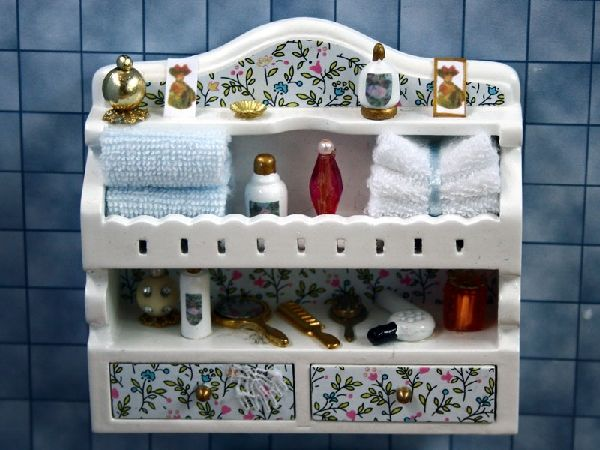 The Wonham Collection, Dolls House Miniatures. Ornate Bathroom Shelf With  Bathroom Accessories   BA129