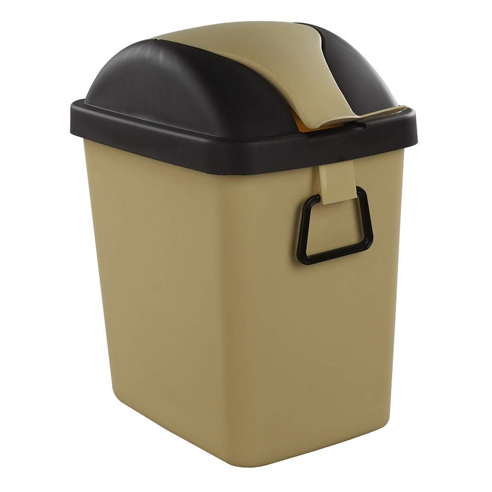 Idomy 2 5 Gallon 9 5 L Plastic Small Trash Can Garbage Can With Swing Lid Khaki Click Image For More Details This I Trash Can Garbage Can Recycle Trash