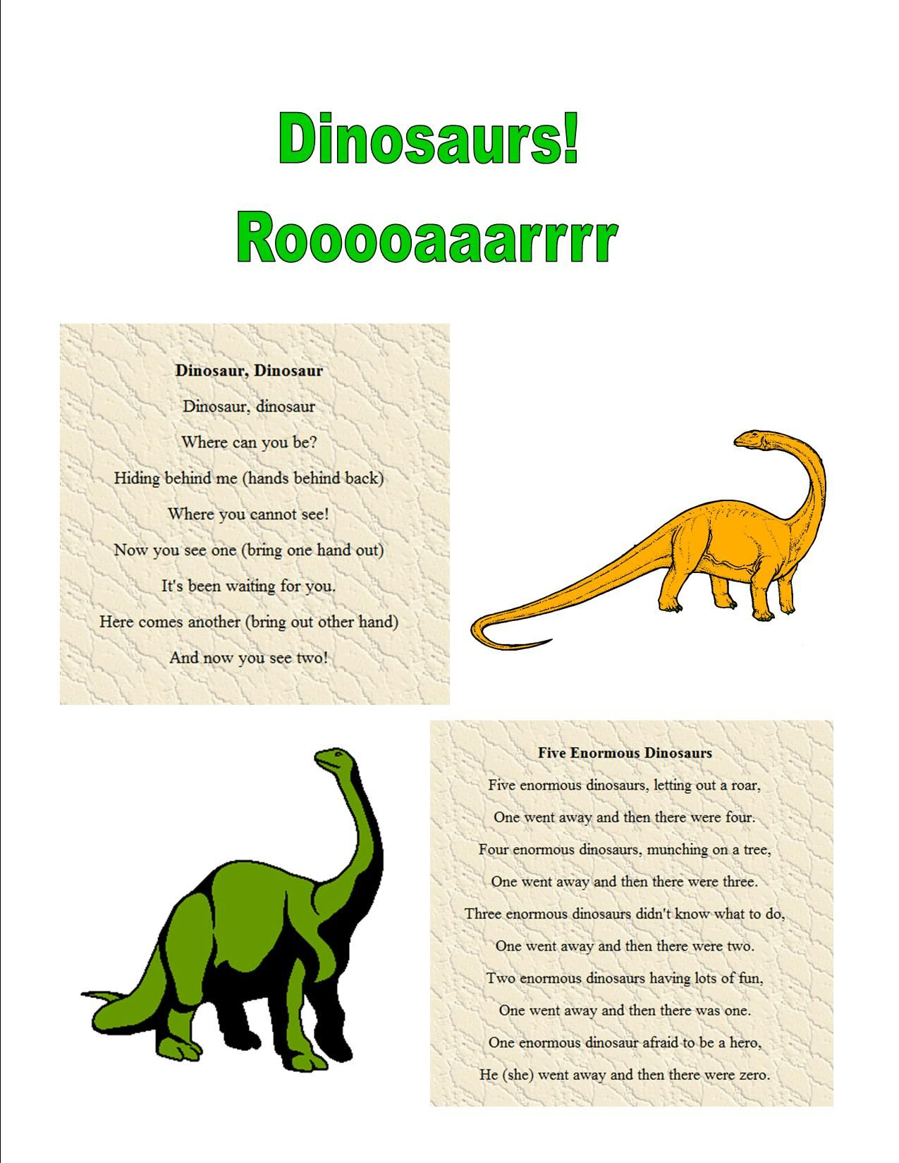 Dinosaur Action Rhyme Fingerplay