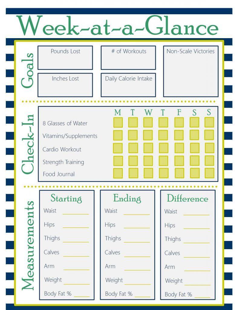 Printable Fitness Planner -   23 fitness journal shape ideas