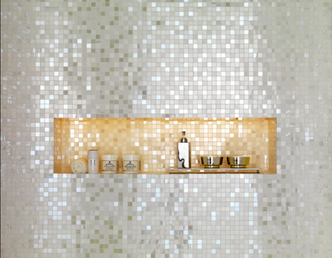 Silver Gold Mosaic Want This In My Bathroom Tile Shower Niche Decor Bathroom Inspiration
