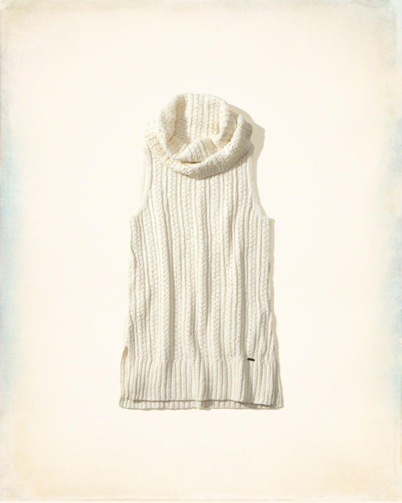 889788144cb5 Hollister Co. Sleeveless Cowl Neck Tunic Sweater in Cream  hcopartner   hcostylescene