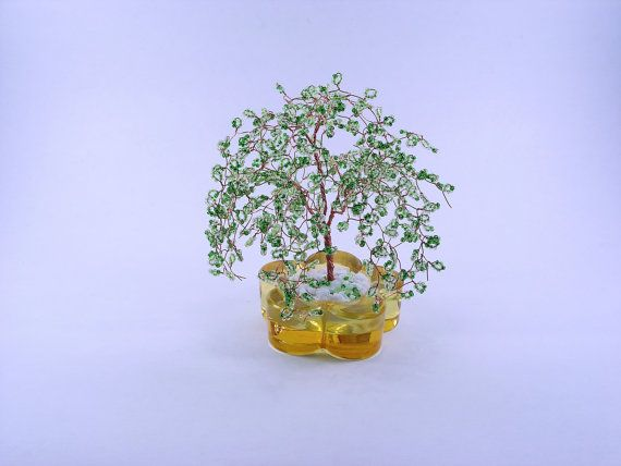 Beaded Willow Art Tree Sculpture Paper Weight with by wireforest