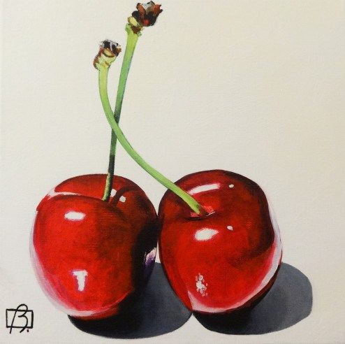 """Daily Paintworks - """"Fresh Cherries"""" - Original Fine Art for Sale - © Andre Beaulieu"""