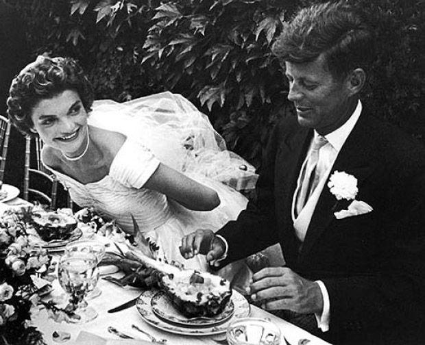 John & Jackie Kennedy on their wedding day