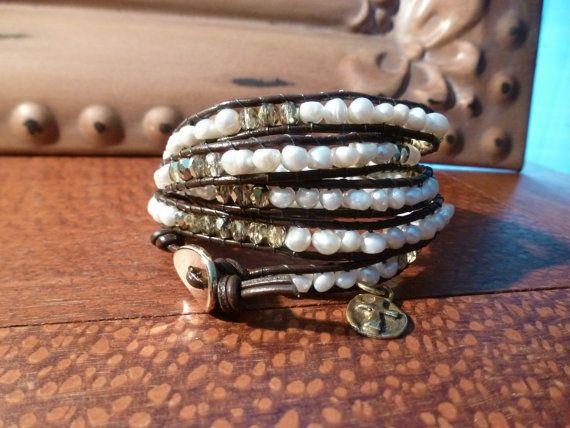 Freshwater Pearl & Gold Cross Five Wrap Bracelet by Runwraps, $100.00