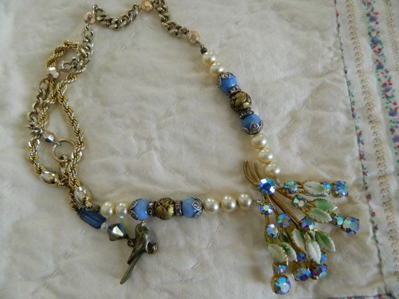 Vintage Assemblage Necklace Upcycle Rhinestone Blues by 58Diamond