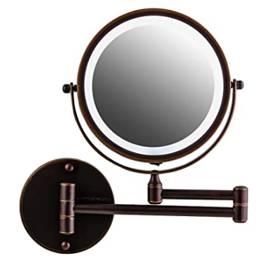 Ovente Wall Mounted Vanity Makeup Mirror 7 Inch With 10x Magnification And Led Light 360 De In 2020 Wall Mounted Makeup Mirror Makeup Mirror Makeup Mirror With Lights