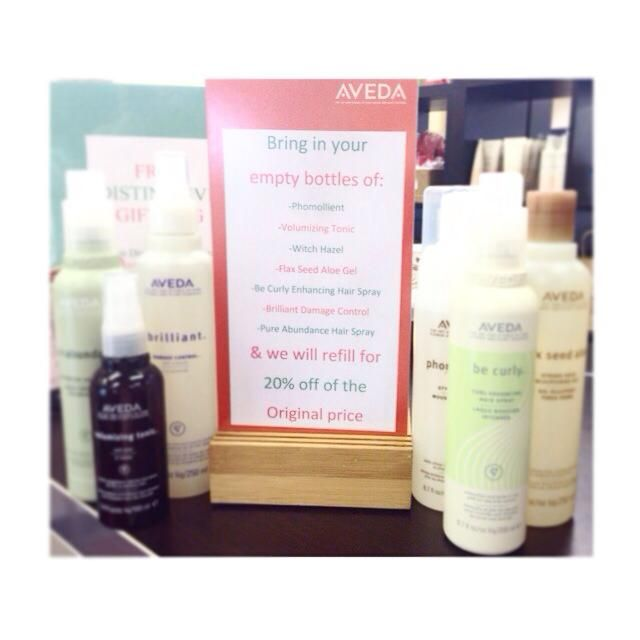Bring in your empty Aveda styling products and we will refill the bottles for you for 20% off of the original price!
