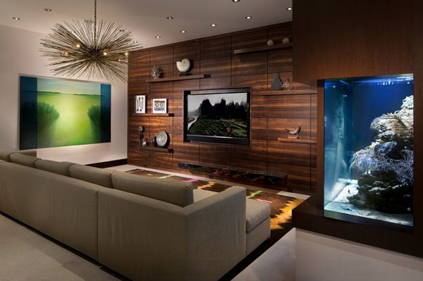 Nice 22 Contemporary Living Room Designs With Fish Tanks