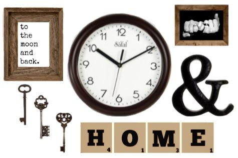 Small Wall Collage With Clock Living Room Clocks Wall Collage