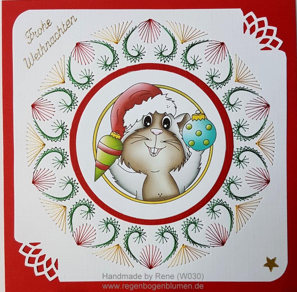 Weihnachten 2016_030 - Motiv: Stitch and Do / Digi Stamp: Peppercus - Doppelkarte mit Umschlag 13,5 x 13,5 cm