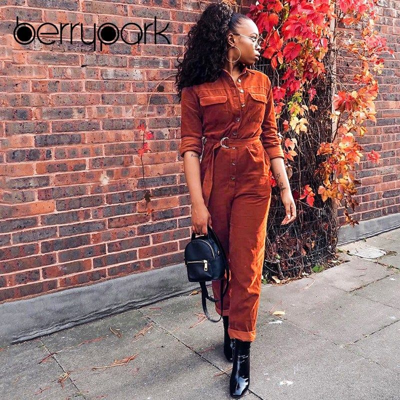 f11d4cae8543 BerryPark 2019 High Fashion Winter Rompers Women High Quality Corduroy  Cargo Loose Long Sleeve Belt Pocket Jumpsuits Wholesale