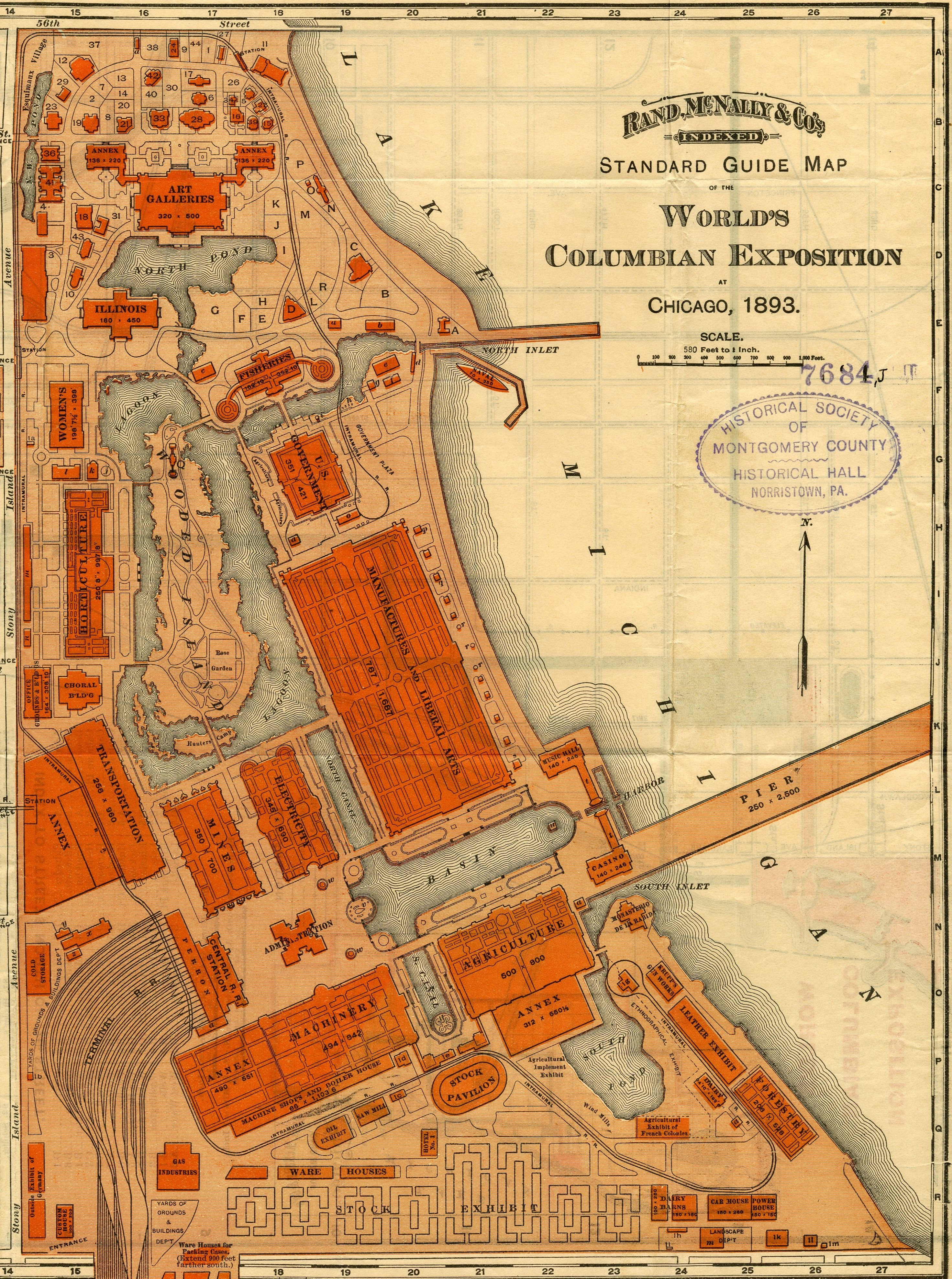 Chicago Columbian Exposition Map Chicago 1893 map | 1893 Chicago World's Columbian Exposition