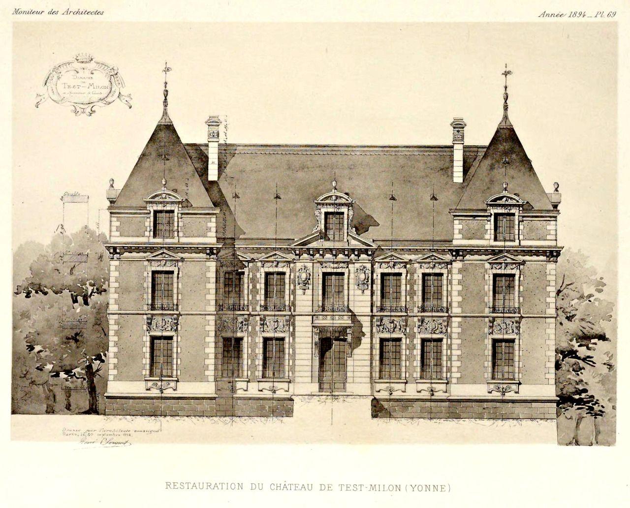 Elevation Of The Restored Chateau De Test Milon France Dekor