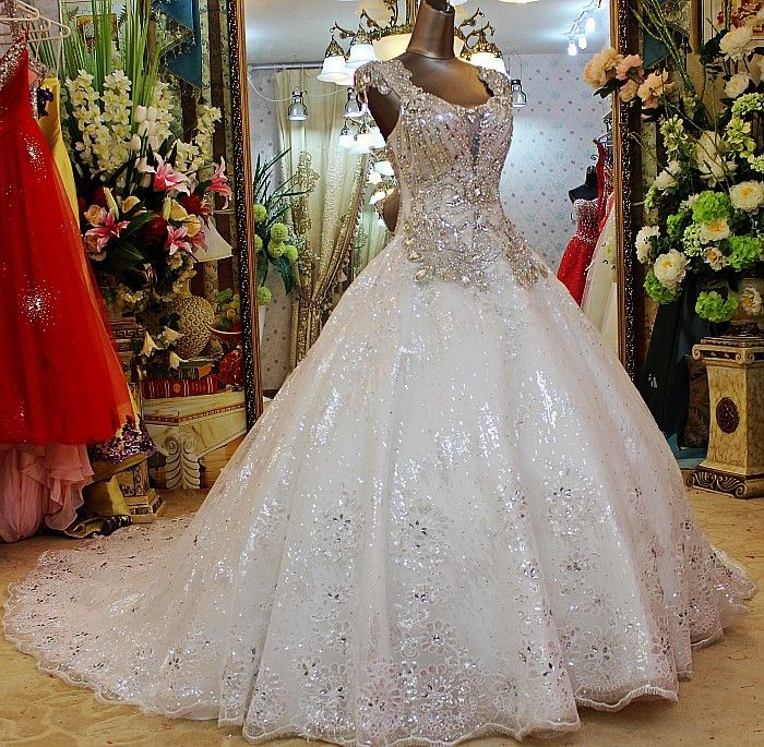 Aliexpress Com Buy Sl 82 Sweetheart Bling Bridal Gowns: 2014 Luxurious Crystal Sweetheart Wedding Dress Sequin