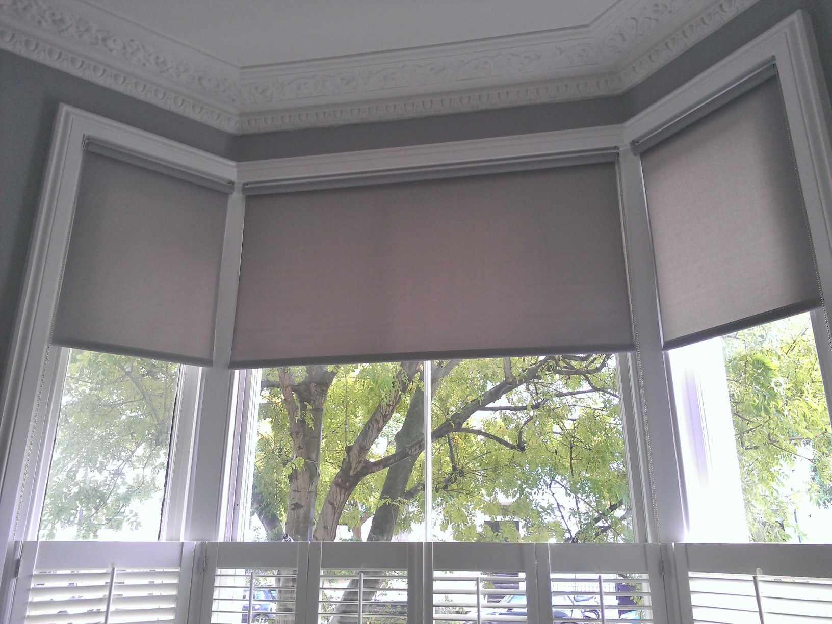 Roller blinds on bay windows google search rosie 39 s for Blinds for tall windows