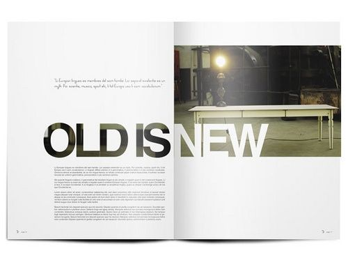 DOSSIER MAGAZINE 003 by willem.kitshoff, via Flickr // White space! I like how Old breaks the grid just enough to make the design a little more dynamic. Nice contrast between the two pages too.