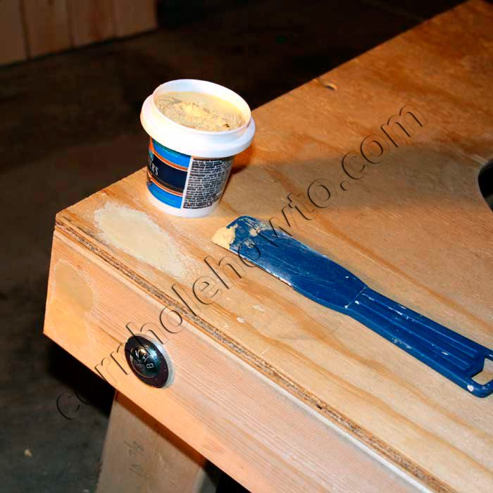 Filling Defects And Holes With Wood Filler. Diy Cornhole BoardsCornhole ...