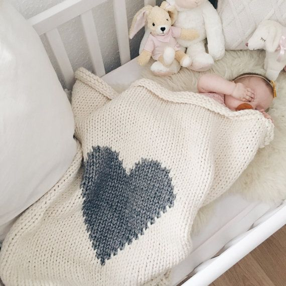 The original heart knit baby blanket in crib size! Available in many different color options, check the options menu on the right. You can build your own custom baby blanket! If there is a color you want but is not listed please contact me and I will find it for you. Squishy, snuggly and