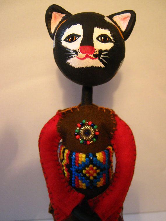 SOLD !! Art Doll one of a kind OOAK LadyCat 'Nat' Ooak