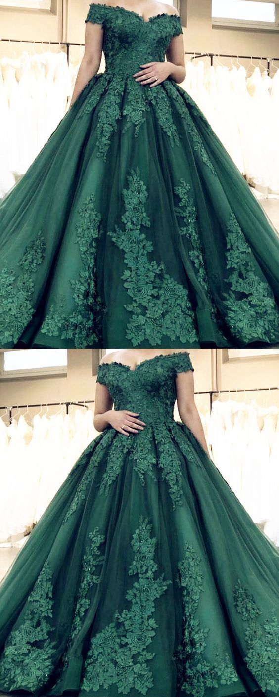 Off the Shoulder Appliques Dark Green Tulle Ball Gown Prom Dress, Formal Evening Dress