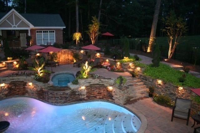 beleuchtung ideen terrasse garten haus pool einbauleuchten   Garten ...