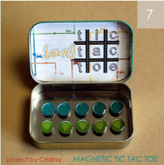 Fun idea for little kids and waiting time. Magnetic tic tac toe from Altoids box  Great for your purse! Would be fun to make.