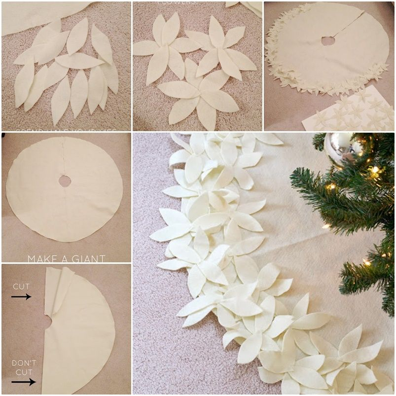 DIY NO-SEW Flower Christmas Tree Skirt