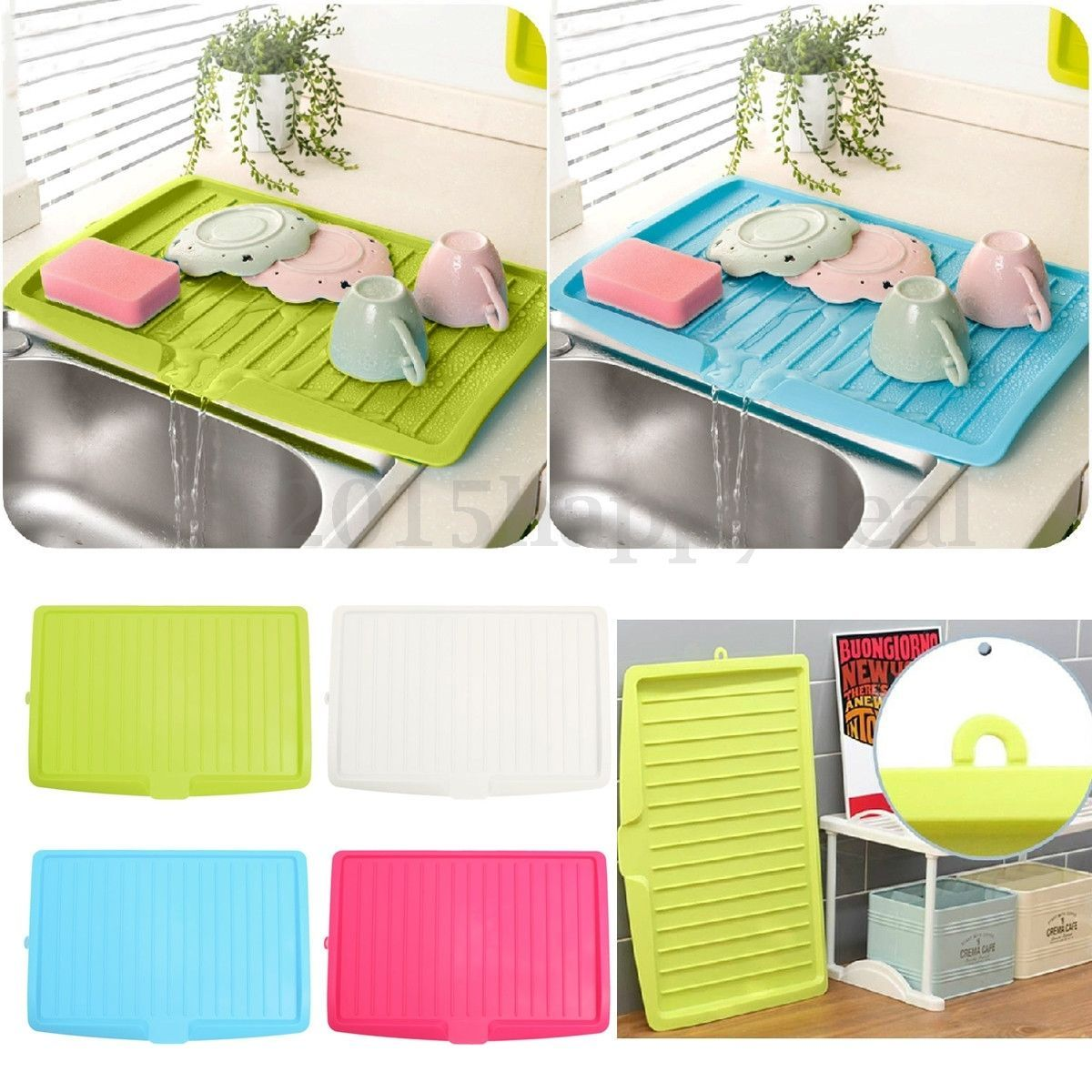 Plastic Dish Drainer Drip Tray Plate Cutlery Rack Kitchen