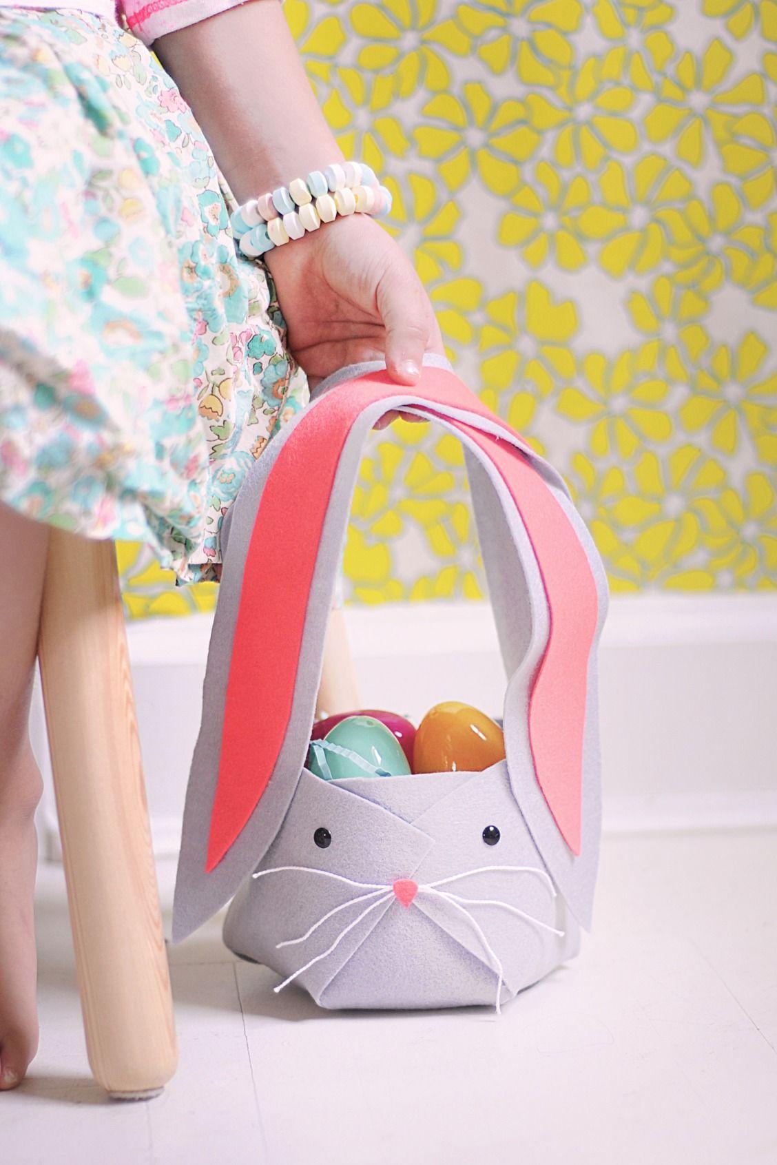 Make a no sew felt easter bunny basket felt bunny easter crafts make a no sew felt easter bunny basket negle Choice Image