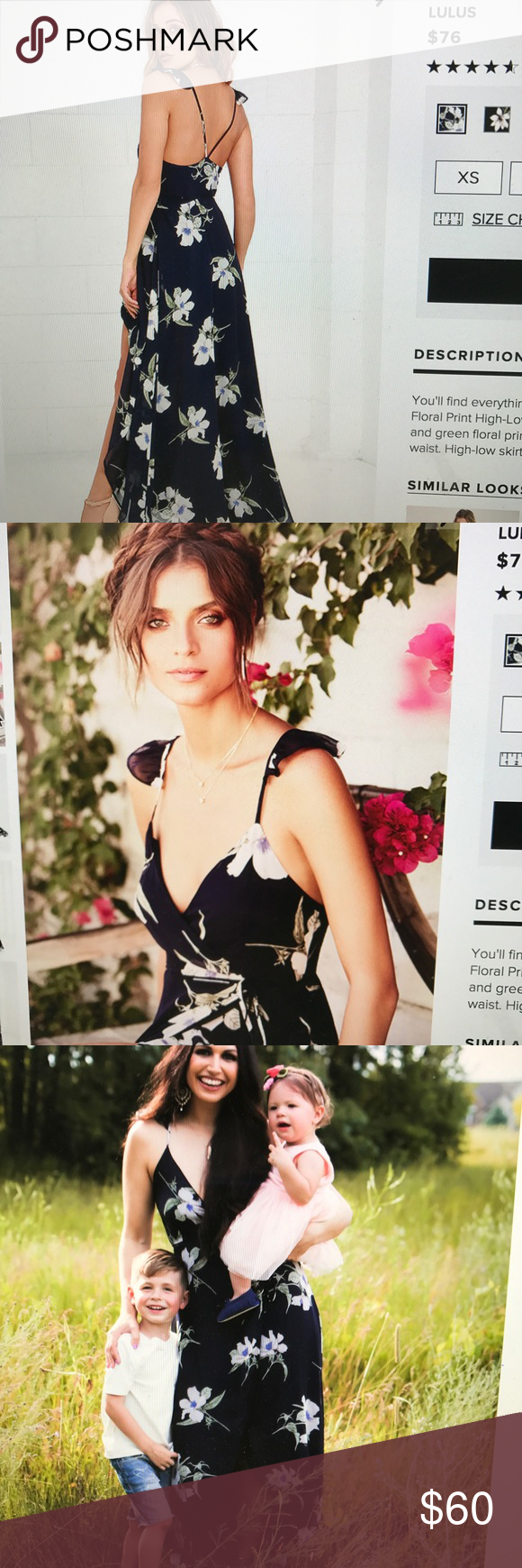 f108565d81 Lulus- All mine navy floral print wrap dress Worn once for 1 hr photos