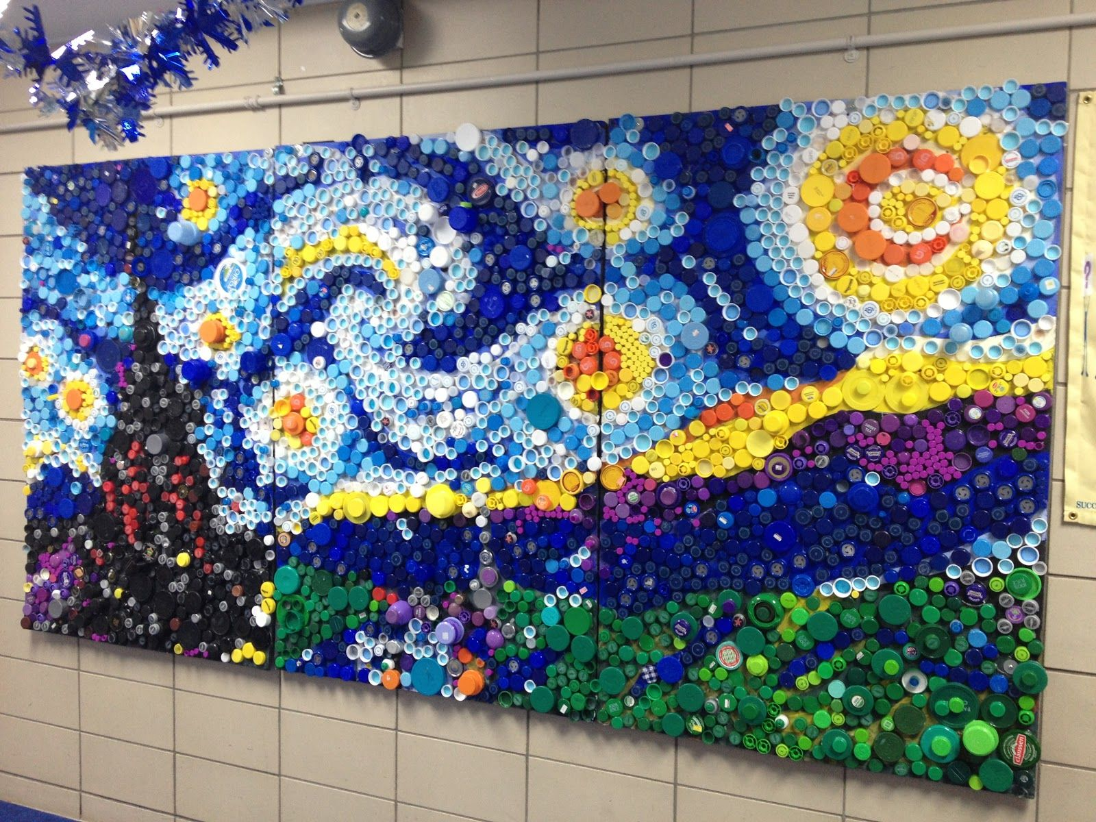 Plastic lid art in the studio the starry night for Bottle top art projects
