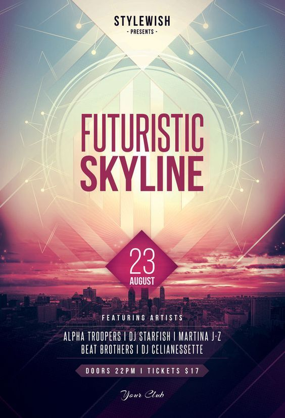 Futuristic Skyline Flyer By Stylewish Download Psd File  Spunti
