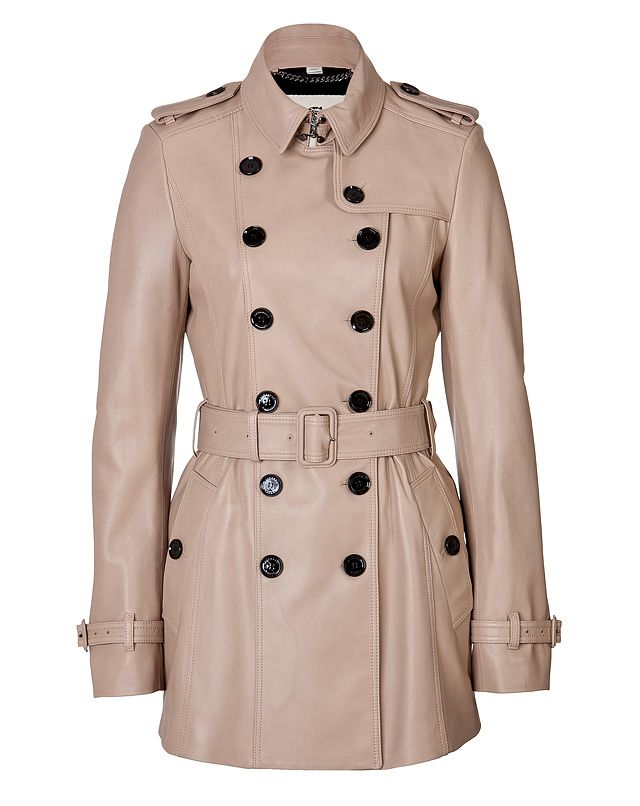 Burberry London's classic trench gets an incredibly luxe remix in sleek lambskin .Wear with an elevated jeans-and-tee ensemble or a cocktail-ready sheath