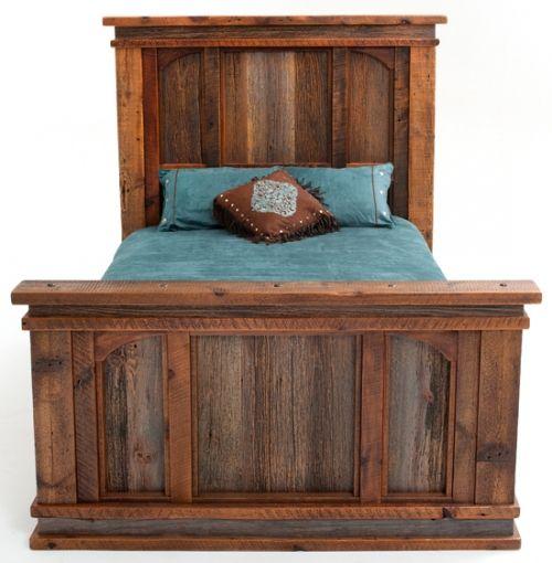 Barn Wood Bedroom Furniture: Aged Barn Wood Bed, Elegant Rustic Design, Cabin