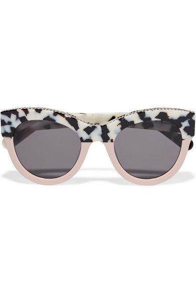 Stella McCartney - Chain-trimmed cat-eye acetate sunglasses